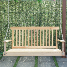 Wood Porch Swing Hanging Seat Chain Outdoor Patio Bench Furniture Wooden... - £101.81 GBP
