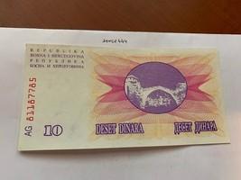 Bosnia 10 dinara uncirc. banknote 1992 #4 - $4.00