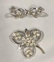 Star Art Sterling Silver Brooch Pin And Earrings Set Rhinestone Floral Vintage - $9.89