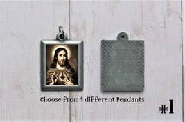 Sacred Heart of Jesus PEWTER Necklace Pendant - Religious Saint Silver 1... - $7.95