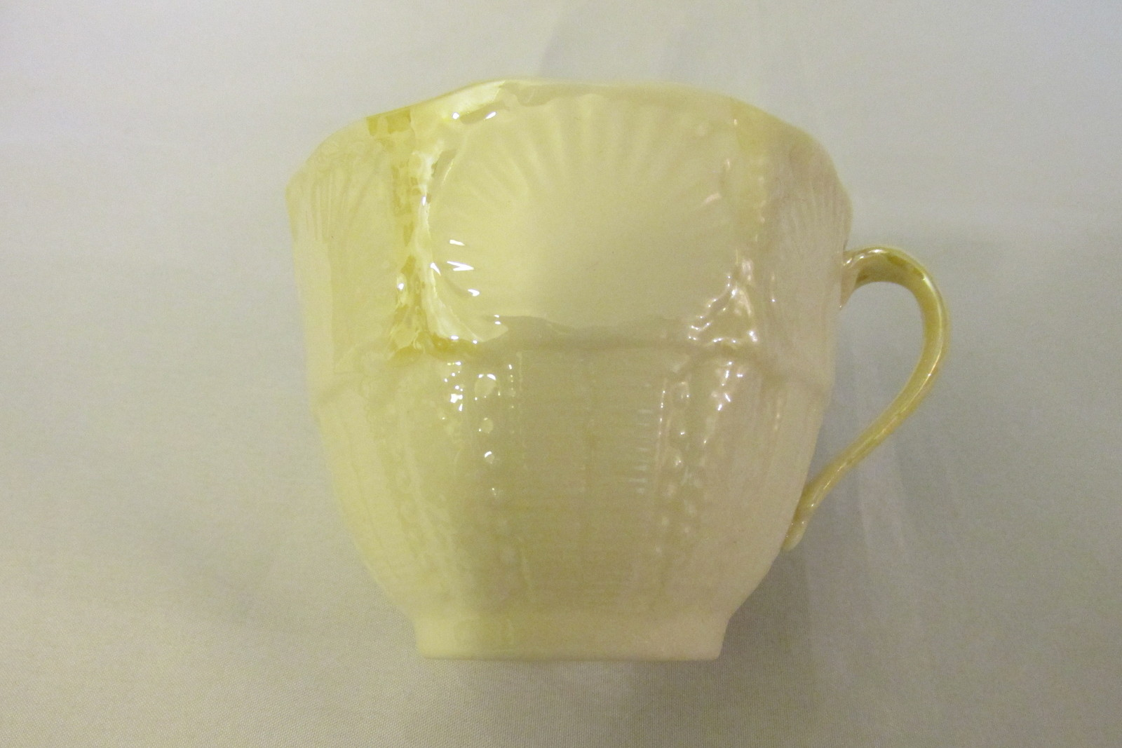Vintage Belleek Irish Pottery Cup & Saucer, New Shell Pattern, Discontinued 1991