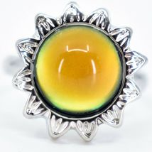 Sunflower Flower Silver Tone Round Cabochon Color Changing Adjustable Mood Ring image 4