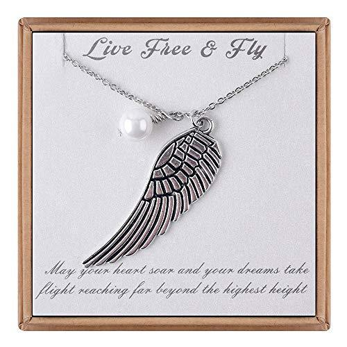IEFLIFE Graduation Gifts for Her - Guardian Angel Wing Necklace New Beginnings I