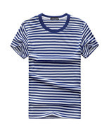 Hot sale 2018 New Summer Fashion Men's cotton Short Sleeve Stripe T Shir... - $234,43 MXN