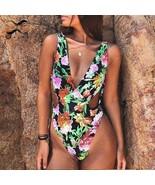 Bikinx Deep V-neck push up swimsuit one piece bodysuits High cut bathing... - $36.35