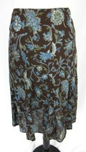 Jones New York Skirt size Large Brown Blue Floral Knee A Line Flared Mod... - $29.97
