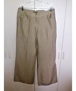 EXPRESS DESIGN STUDIO LADIES BEIGE PINSTRIPE WIDE LEG PANTS-12-NWT-LINEN... - $11.99