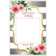 Silver Pink and White Floral Wedding Selfie Frame Poster - $16.34+