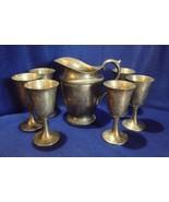 Wm Rogers eagle & star pitcher, 6 goblets set Evandale # 1117 vintage un... - $44.54