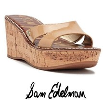 Sam Edelman natural tan cork patent wedge sandals - $26.73
