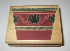 Terra Cotta Potta Rubber Stamp Flower Pot Seashells Planter Plants Retired  - $5.93