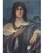 YOUNG BEAUTY Enigmatic Lady Dreaming - COLOR VICTORIAN Era Print - $9.79