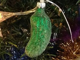 Small Traditional Frosted Bright Green Pickle Hand Painted Glass Ornament