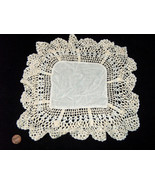 "Handmade Crochet Knit 10"" Square White Off White Table Topper Vintage La... - $9.88"