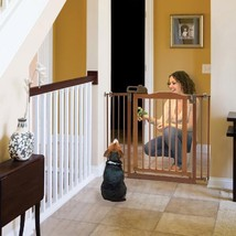 Wooden Pet Gate With Door Dog Fence Barrier Wood Tension Mount Child Loc... - $271.94