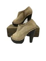 Jimmy Choo Tan Suede Chunky Heel Peep Toe Clog Ankle Booties SZ 38.5 - $173.20