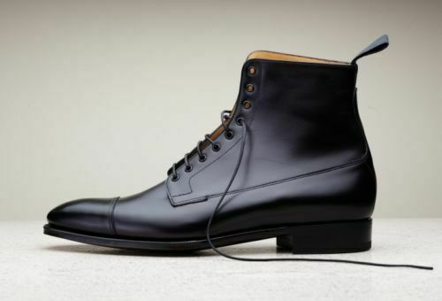 Primary image for Men's Black High Ankle Laceup Premium Quality Leather Dress Boots Handmade
