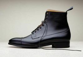 Men's Black High Ankle Laceup Premium Quality Leather Dress Boots Handmade - $159.99