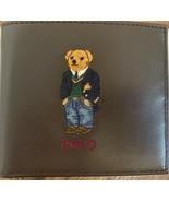 NEW BiFold Wallet Ralph Lauren Polo Preppy Bear Dark Brown Leather Men's - $116.86