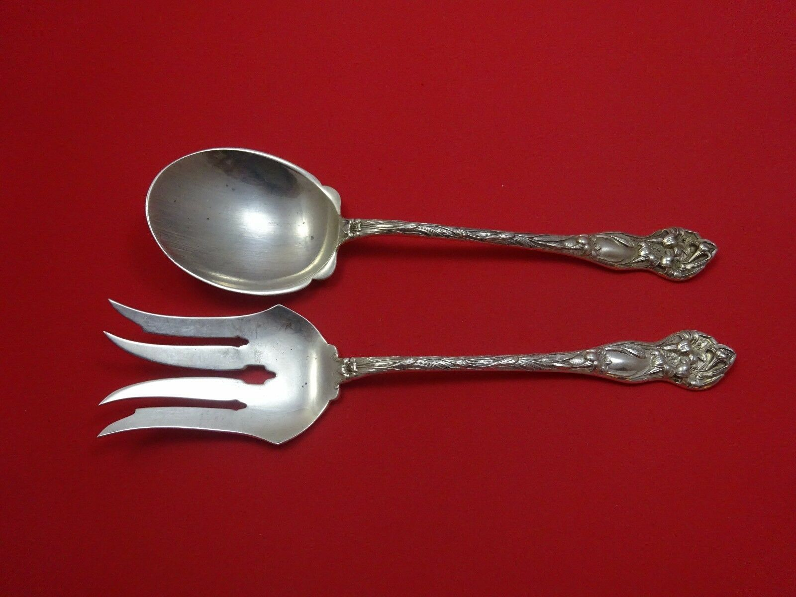 Primary image for Lily by Watson Sterling Silver Salad Serving Set Two Piece 10 1/2""