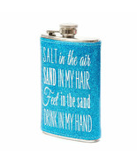 """""""Salt in the Air, Sand in My Hair..."""" Blue Glitter Flask Drinking Alcoho... - $13.79"""