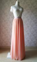 Coral Chiffon High Waist Full Maxi Skirt Coral Pink Wedding Chiffon Skirts image 4