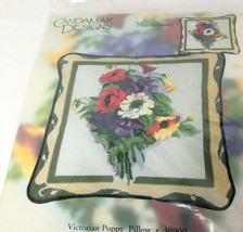 Candamar Designs Needlepoint Victorian Poppy Pillow Kit floral flowers N... - $25.73