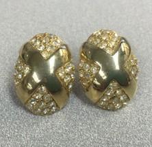 Vintage Goldtone Rhinestone Gold X Cross Clip-On Earrings Signed PAT273349 - $7.83