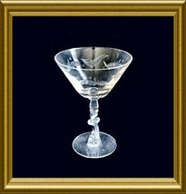 Tiffin Crystal Champagne Goblet/Martini Glass: Vanity cut pattern-scroll... - $8.00