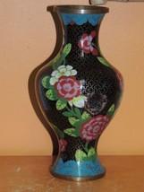 """Vintage Cloisonne 7.75"""" Vase Lamp Plated Copper damaged Enamel Stone Ant... - $34.99"""