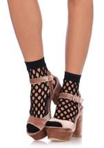Leg Avenue 3042 Black Oval Net Ankle Socks Fishnet Socks Hosiery O/S - $144,13 MXN