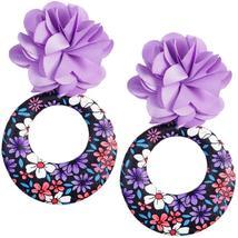 Purple Floral Fabric Drop Hoop Earrings - $13.64