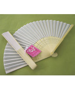 100 White Silk Fans BEACH Wedding Favor Place Holder - $123.45