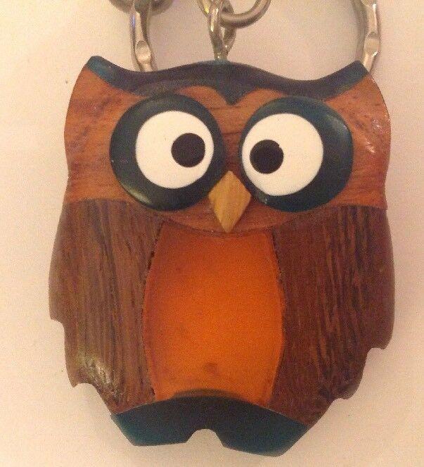 Owl Keychain Inlaid Wood Resin Figural Bird Brown Green Amber Key Ring image 3