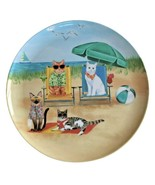 """Melamine Dinner 11"""" Plates Cats at the Beach Set of 4 Pet Cat Kitty Love... - $39.58"""