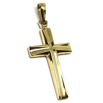 18K YELLOW WHITE GOLD CROSS PENDANT 33mm, 1.3 inches, ROUNDED ONDULATE