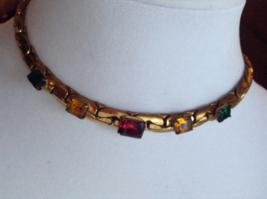 Vintage Coro Gold Tone Glass Square Gem Choker Fashion Necklace - $65.00