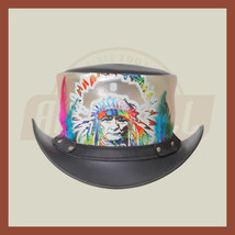 Red Indian Western Native American Black Silver Multicolor Leather Top Hat - $89.99
