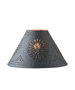 """Country new Textured black 15"""" punched tin lamp shade  - $41.80"""