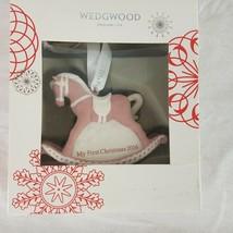 Wedgwood Pink Jasperware Baby 1ST First Christmas Rocking Horse Ornament... - $17.59