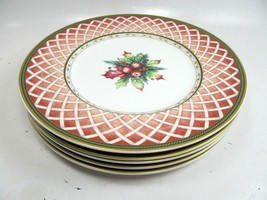 5 Fitz and Floyd Winter Holiday Rose Wreath Salad Plates Set of 5 Pristi... - $81.18