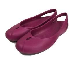 Crocs Womens Olivia II 202826-675 Berry Iconic Comfort Flats Women's US Size 10 - $18.51