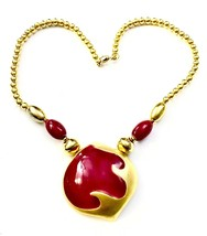 DON-LIN Matte Gold Tone Metal & Raspberry Enamel Abstract Pendant Necklace - $151.32