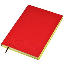 Littfun Leather Notebook A5 Journal Orchid Pattern Class Notes - Ruled Red - $10.99