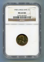 1960 Lincoln LARGE DATE 1 Cent Penny - NGC Certified MS 64 RD Coin - $14.79
