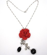 SILVER 925 NECKLACE, ONYX BLACK, PINK RED, FLOWER, CHAIN BALLS image 2