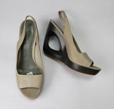Nine West Womens Shoes Slingbacks Taildrop Gray Open Toe Platform Size 8 1/2 M - $44.50