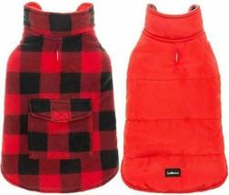 Dog Reversible Windproof Waterproof Plaid Jacket Size M
