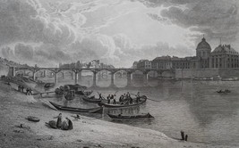 FRANCE Paris Bridge of Louvre or Fine Arts - 1821 Antique Print by Cpt. ... - $21.60