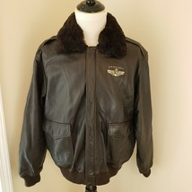 Big Dog Size XL Brown Leather Embroidered Plane Bomber Flight Jacket She... - $92.62